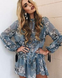 Boho Long Sleeve Ruffles Tassels Mini Dresses