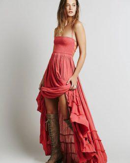 Boho Maxi Backless Straps Long Warp Dress