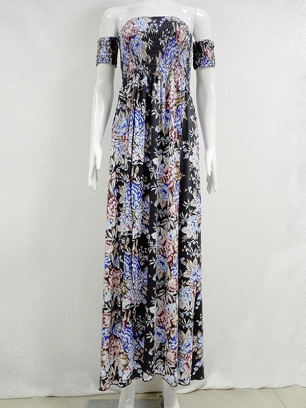 f0463b1f47 ... Boho Maxi Dress Black Floral Printed Off The Shoulder Short Sleeve Slit  Long Dress. Sale! Previous Product · Next Product. 🔍. $50.00 $33.99