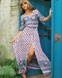 Boho Maxi Dress Print Split Long Sleeve V Neck Summer Dress for Women