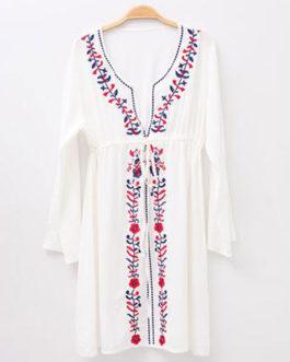 Boho Plunging Neckline Long Sleeve Floral Dresses