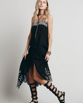 Boho Sleeveless Straps Cut Out Dresses