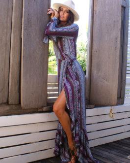 Boho V Neck High Split Long Sleeve Dresses