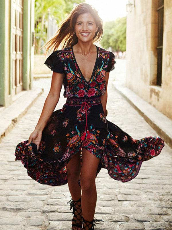 9698b77871 Boho V Neck Short Sleeve High Split Front Maxi Dresses. Home>; Shop>; Boho  V Neck Short Sleeve High Split Front Maxi Dresses. Sale!