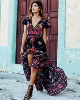 Boho V Neck Short Sleeve High Split Front Maxi Dresses