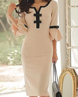 Bowknot Embellished Split Neck Flare Sleeve Dresses