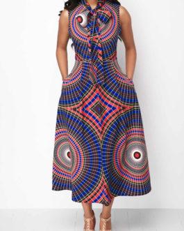 Bowknot Neck Pocket Sleeveless Dresses