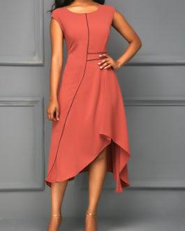 Brick Cap Sleeve Asymmetric Hem Dresses