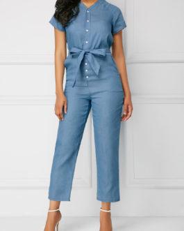 Button Up Belted V Neck Jumpsuit