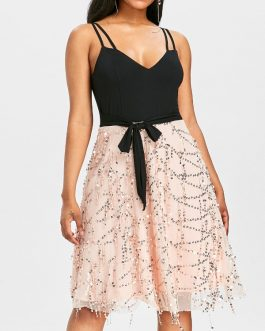 Cami Strap Belted Sequined Dresses