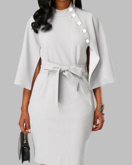 Cape Sleeve Back Slit Belted Dresses