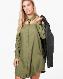 Casual Shirt Dress Hunter Green Turndown Collar Long Sleeve Cut Out Short Dresses For Women