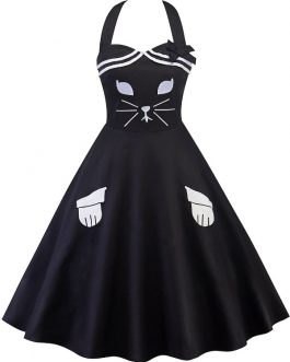 Cat Bowknot Embellished Swing Dresses