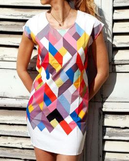 Chic Short Sleeve Scoop Collar Geometric Dresses
