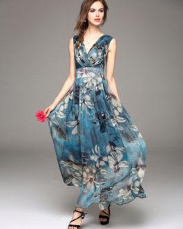 Chiffon Maxi Dress 2019 Floral Summer Dress Women Long Party Dress