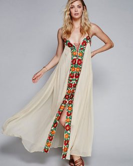 Chiffon Maxi Dress Ecru White Spaghetti Straps Flowers Embroidered Women's Summer Beach Long Dress