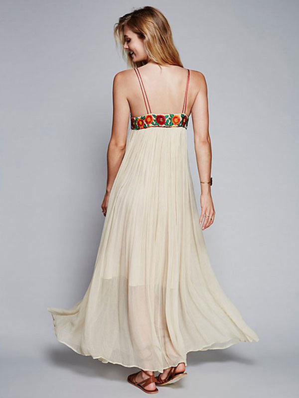 Chiffon maxi dress ecru white spaghetti straps flowers embroidered 12000 10399 mightylinksfo