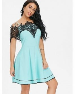 Cold Shoulder Lace Panel Dresses