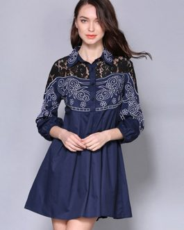 Cotton Shirt Dress Lace Embroidered Turndown Collar Women Mini Dress