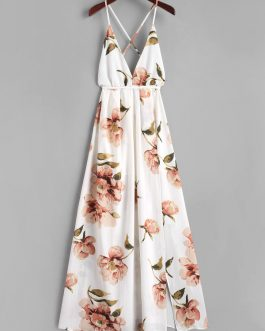 Criss Cross Slit Floral Maxi Dresses