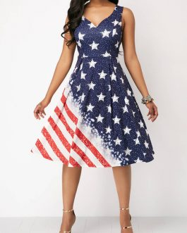 Cutout Back American Flag Dresses