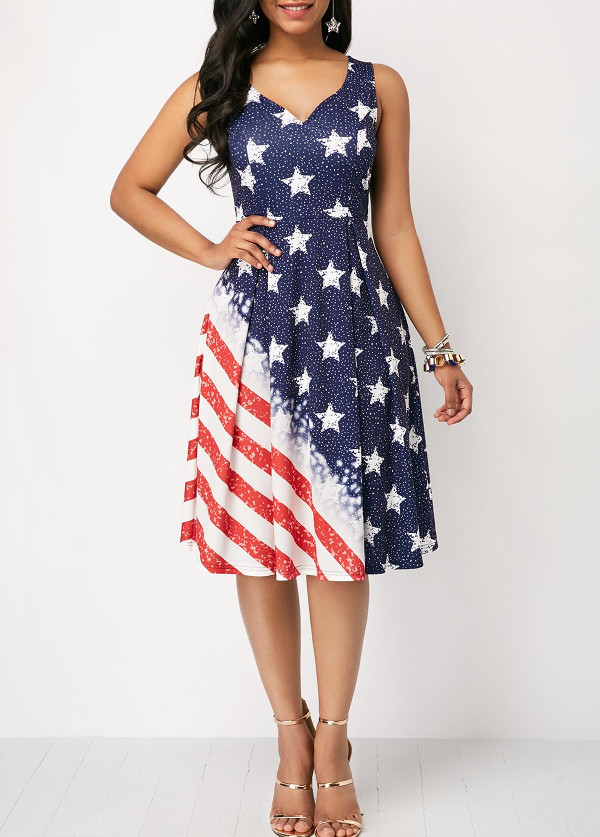 Cutout Back American Flag Dresses Power Day Sale