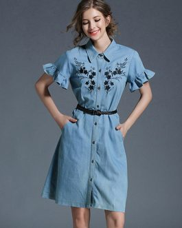 Denim Shirt Dress Light Blue Turndown Collar Bell Sleeve Embroidered Single Breasted Women's Summer Dresses With Belt