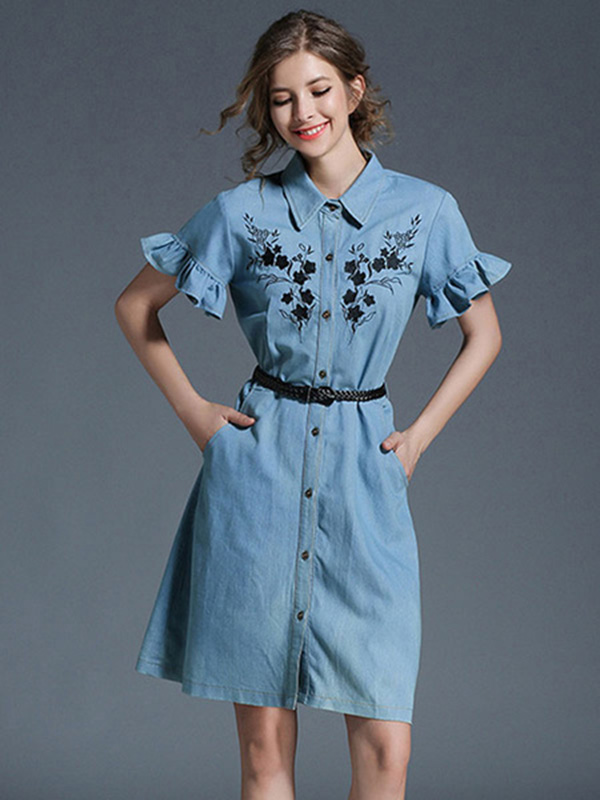 new lower prices buy popular detailed look Denim Shirt Dress Light Blue Turndown Collar Bell Sleeve Embroidered Single  Breasted Women's Summer Dresses With Belt