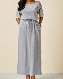 Drawstring Waist Scoop Neck Maxi Dresses