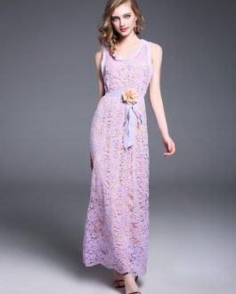 Elegant Lace Dress U Neck Sleeveless 3D Flower Shaping Lilac Maxi Dress