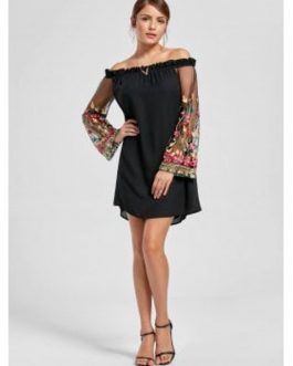 Embroidery Flare Sleeve Off The Shoulder Dresses