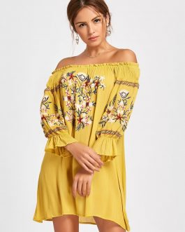 Embroidery Off The Shoulder Dress