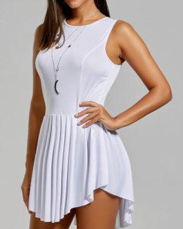Fashionable Scoop Neck Asymmetric Pleated Dresses
