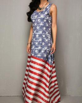 Flag Round Neck Maxi Dresses