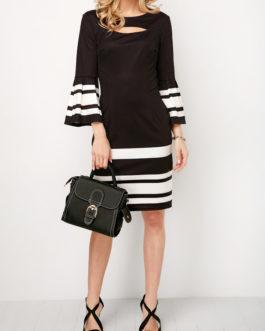 Flare Cuff Keyhole Neckline Striped Dresses