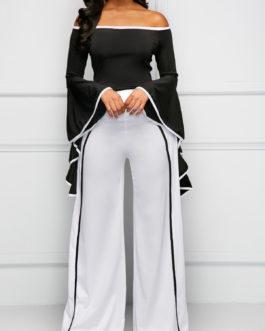 Flare Sleeve Contrast Binding Bardot Jumpsuit