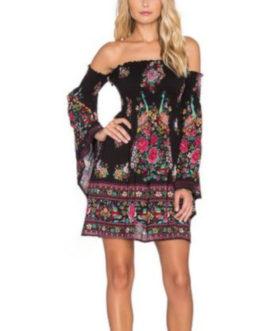 Flare Sleeve Off The Shoulder Bohemian Dress