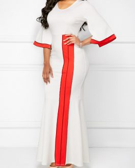 Flare Sleeve Patchwork Maxi Dresses