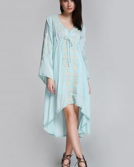 Flare Sleeve Shapeless Embroidered Dress