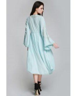 Flare Sleeve Shapeless Embroidered Dress