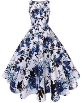 Floral Fit and Flare Midi Vintage Dresses