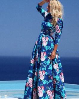 Floral Maxi Dress 2019 Women Blue Half Sleeve Summer Dress