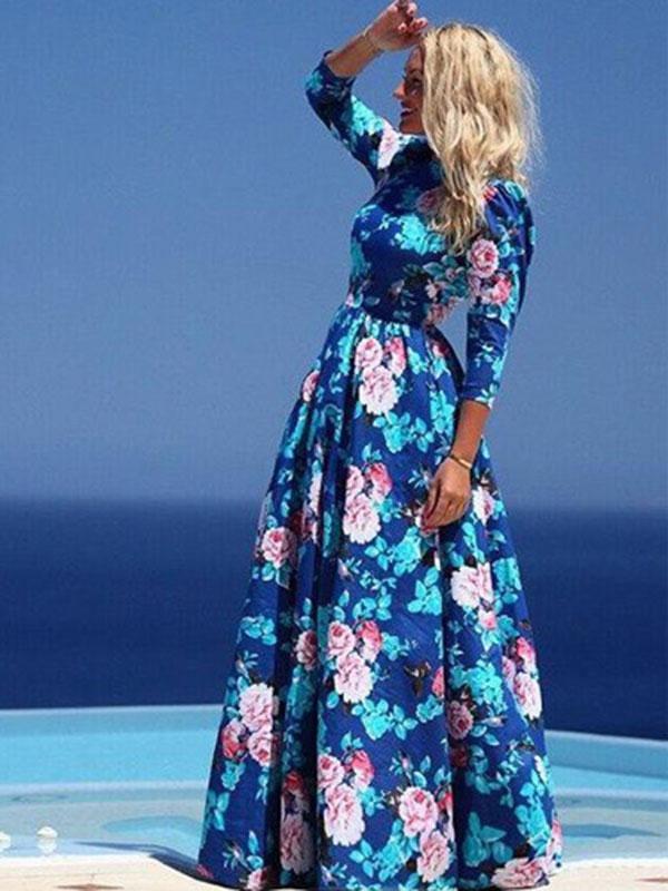 abf770ae53f Floral Maxi Dress 2019 Women Blue Half Sleeve Summer Dress - Power ...