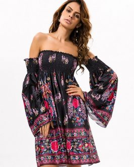 Floral Print Off-shoulder Horn Sleeve Mini Dress For Women