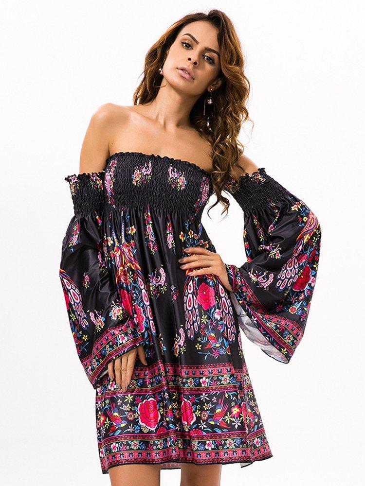 Floral Print Off shoulder Horn Sleeve Mini Dress For Women 1