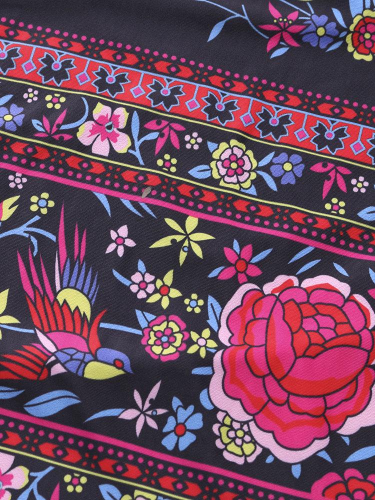 Floral Print Off shoulder Horn Sleeve Mini Dress For Women 11