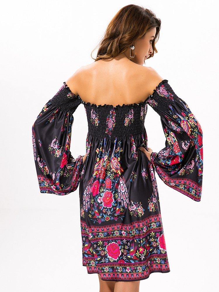 Floral Print Off shoulder Horn Sleeve Mini Dress For Women 2