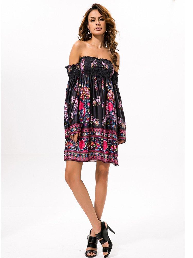 Floral Print Off shoulder Horn Sleeve Mini Dress For Women 3