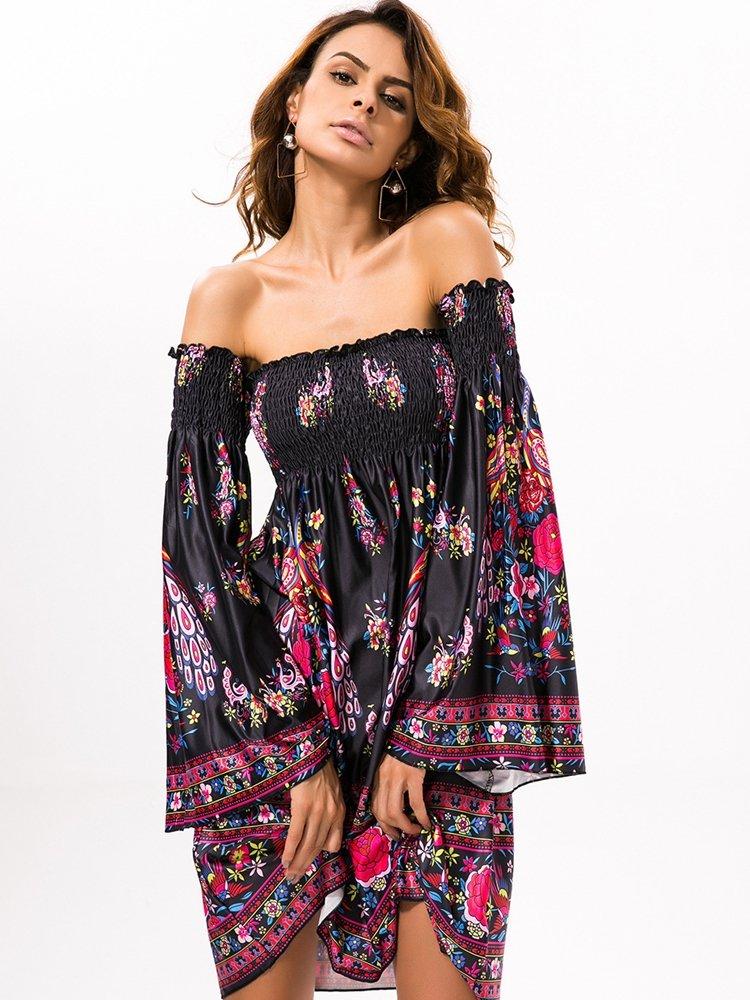 Floral Print Off shoulder Horn Sleeve Mini Dress For Women 5