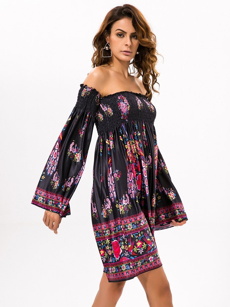 Floral Print Off shoulder Horn Sleeve Mini Dress For Women 6